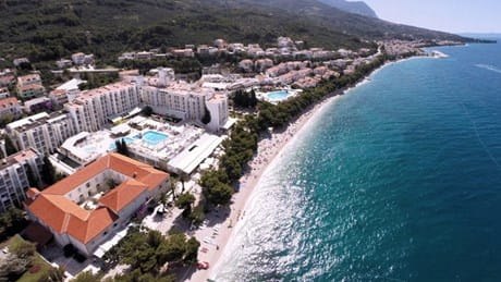 Aerial view of the Alga Hotel and Tucepi beach