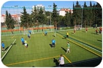 Football with artificial grass